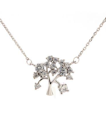Anna Grace náhrdelník Sparkling Silver Plated Crystal Tree AGN0044_SILVER