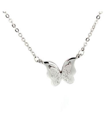 Anna Grace náhrdelník Sparkling Silver Plated Crystal Butterfly 19 AGN0019_SILVER