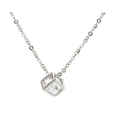 Anna Grace náhrdelník Silver Plated Crystal 3D Cube AGN0021_SILVER