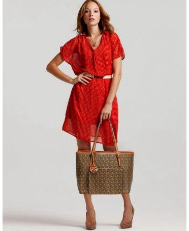 Anna Grace hnědá kabelka shopper s přední kapsou AG00534_BROWN1