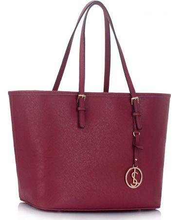 LS Fashion vínová kabelka shopper velká 297 LS00297_BURGUNDY1
