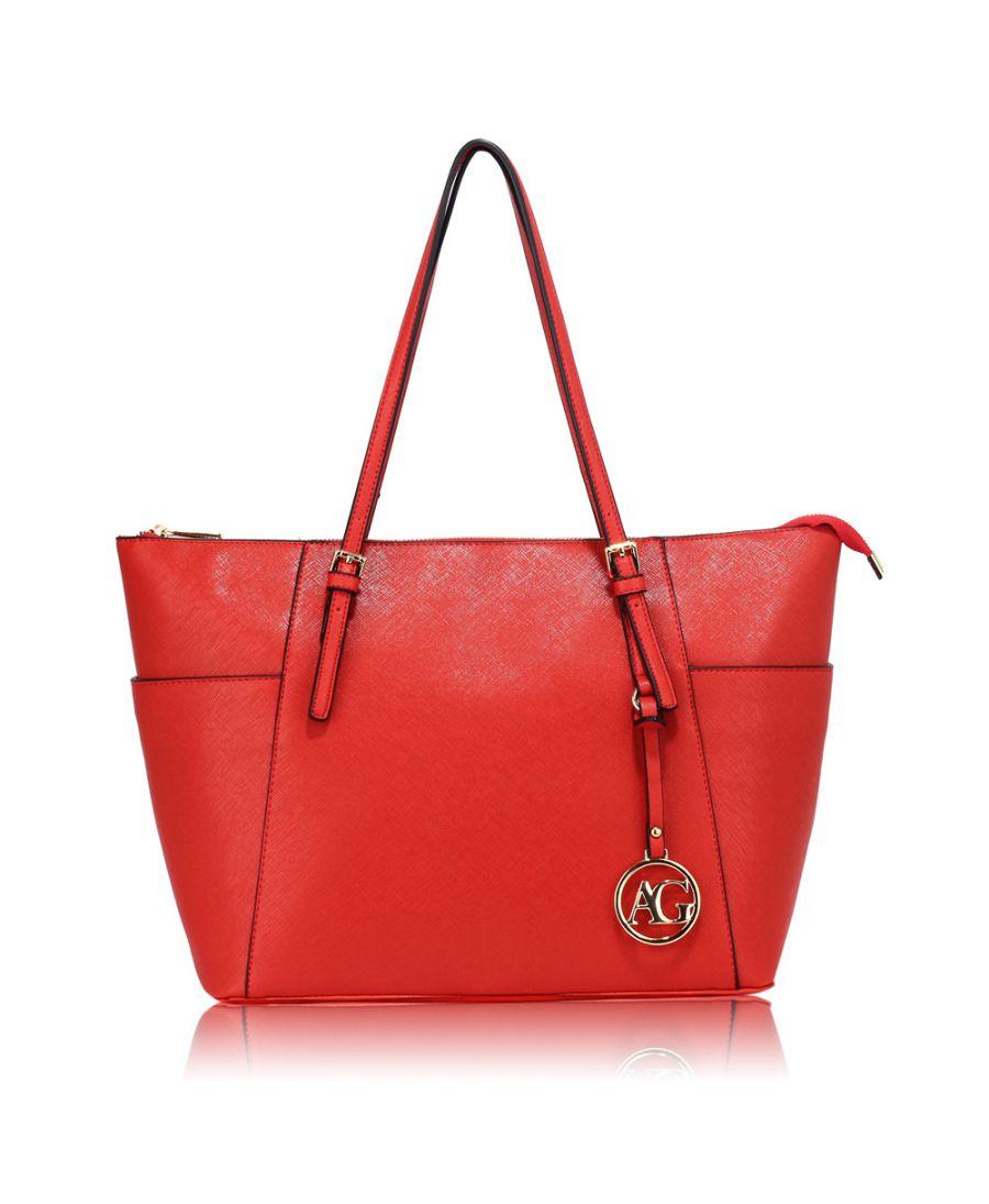 Anna Grace červená kabelka shopper velká 350 AG00350_RED2