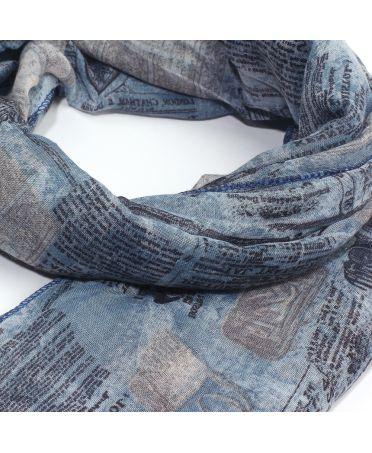 Anna Grace modrý maxi šátek s novinovým potiskem AGSC029