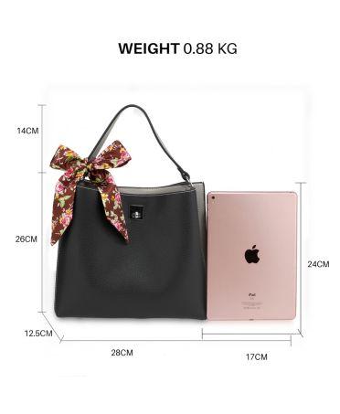 Anna Grace stylová černá-šedá kabelka přes rameno AG00682_BLACK_GRAY