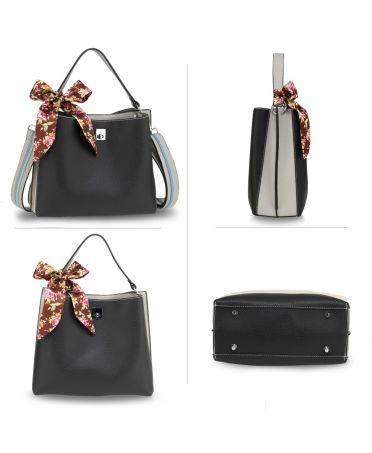 Anna Grace stylová černá-šedá kabelka přes rameno SILK SCARF 682 AG00682_BLACK_GRAY