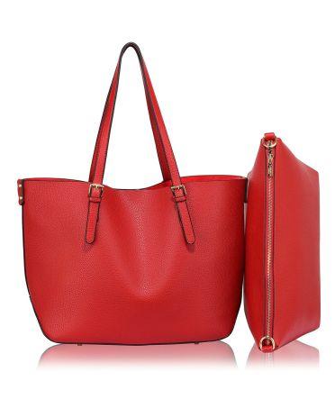 LS Fashion červená shopper kabelka s vyjímatelným pouzdrem 265 LS00265_RED