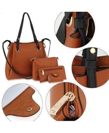 Anna Grace hnědý kabelkový set 666 AG00666_BROWN