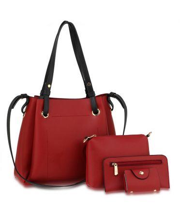 Anna Grace vínově červený kabelkový set 666 AG00666_BURGUNDY