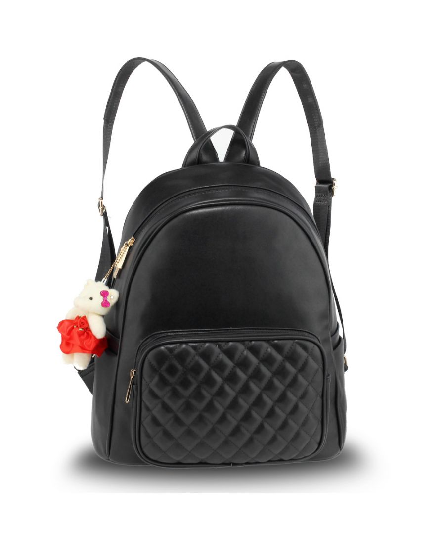 Anna Grace elegantní černý batoh s prošívanou kapsou 674 AG00674_BLACK