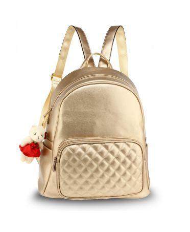 Anna Grace elegantní zlatý batoh s prošívanou kapsou 674 AG00674_GOLD