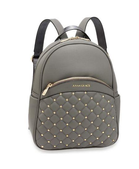 Anna Grace elegantní šedý batoh s logem na přední straně 590 AG00590_GREY