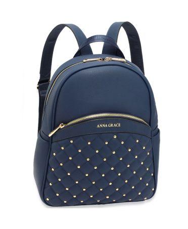 Anna Grace elegantní modrý batoh s logem na přední straně 590 AG00590_NAVY