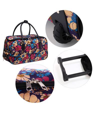 Anna Grace cestovní taška s květinovým vzorem a kolečky 012 AGT0012_FLOWER