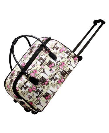 Anna Grace cestovní taška se vzorem eiffel tower a kolečky 013 AGT0013_TOWER