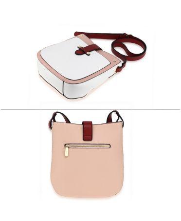 Anna Grace módní růžová-bílá-vínová crossbody kabelka 684 AG00684_PINK_WHITE_BURGUNDY