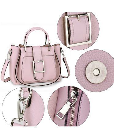 Anna Grace růžová crossbody kabelka s kovovými uchy 632 AG00632_PINK