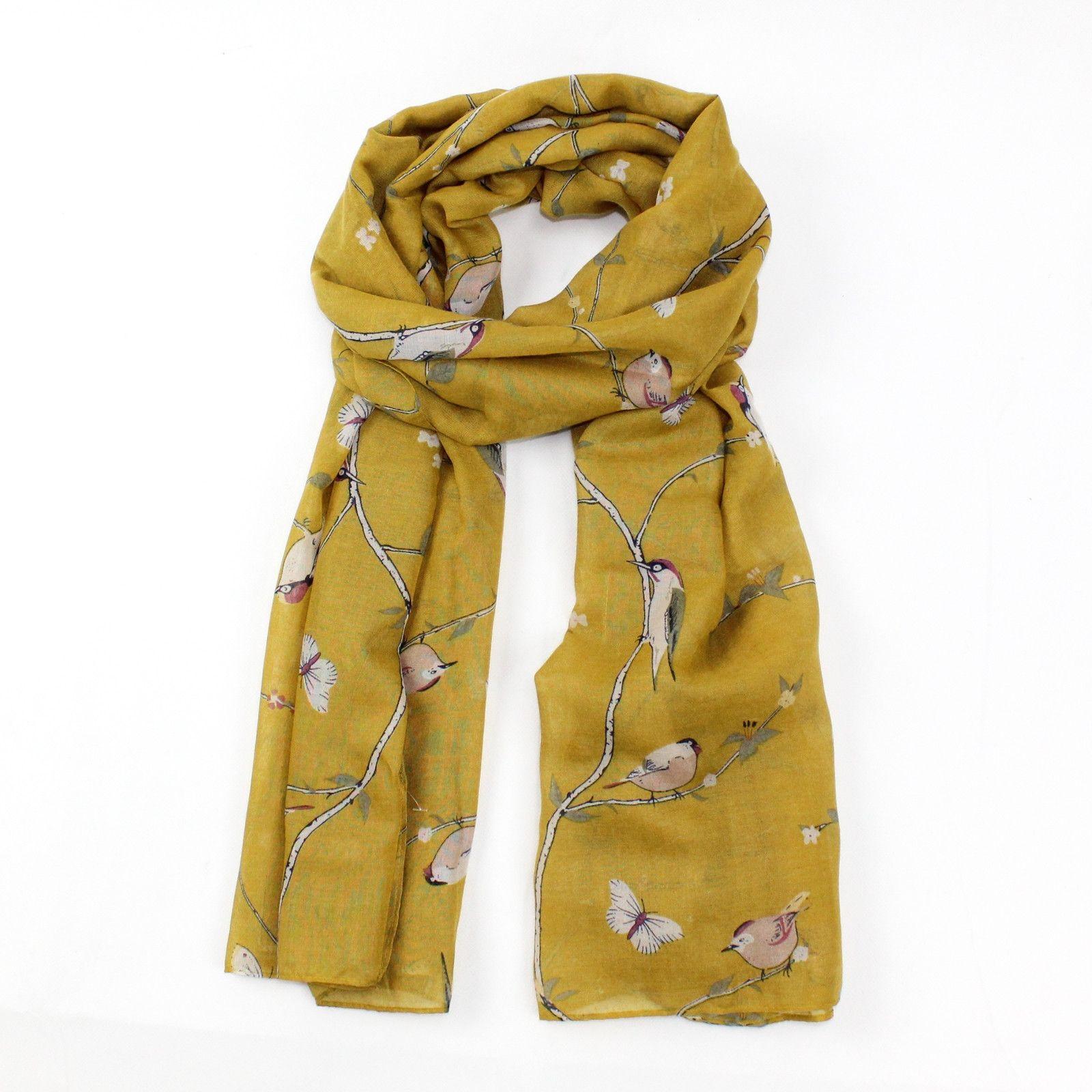 Hazel & Pip žlutý dámský maxi šátek WOODPECKER 4002